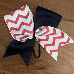 Navy and pink chevron cheer bow
